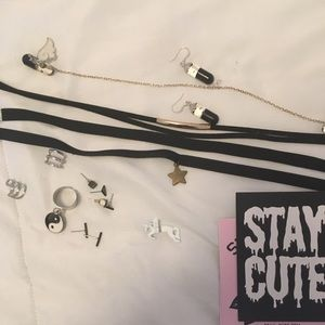Lot of chokers and earrings